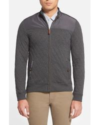 Ted Baker | Gray 'kartel' Quilted Full Zip Sweatshirt for Men | Lyst