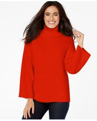 Vince Camuto | Red Ribbed Turtleneck Sweater | Lyst