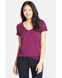 Halogen | Purple Relaxed Slub Knit U-neck Tee | Lyst