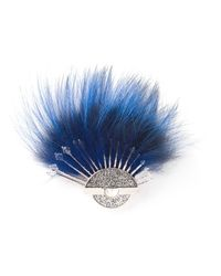 Fendi - Blue Fox Tail Brooch - Lyst