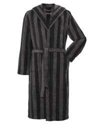 GANT | Black Hooded Stripe Bathrobe for Men | Lyst