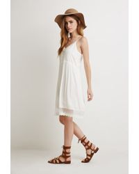 Forever 21 | Natural Crochet-trimmed Cami Dress | Lyst