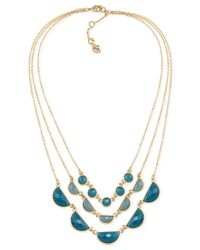 Carolee | Metallic Gold-tone Three-row Blue Stone Necklace | Lyst