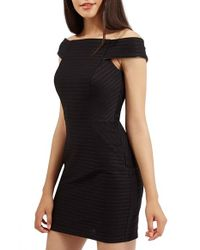 TOPSHOP | Black Off The Shoulder Ribbed Body-con Dress | Lyst