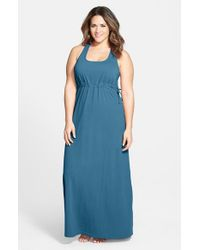 Hard Tail | Blue Surplice Side-Tie Racerback Maxi Dress | Lyst