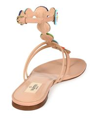Valentino - Multicolor Beaded Leather Thong Sandals  - Lyst