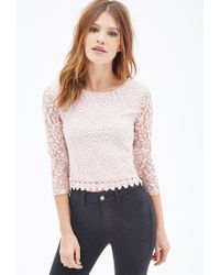 Forever 21 | Pink Crochet Trim Lace Top | Lyst