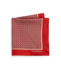 Ferragamo | Red Deco Gancini Silk Pocket Square for Men | Lyst