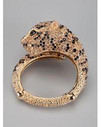 Roberto Cavalli | Metallic Jeweled Panther Cuff Bracelet | Lyst