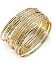 INC International Concepts | Metallic Gold-tone Textured Bangle Bracelet Set | Lyst
