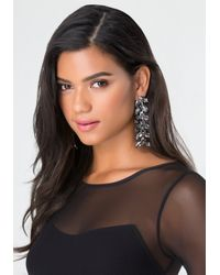 Bebe - Black Crystal Leaf Earrings - Lyst