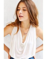 Urban Outfitters | Metallic Crystal Crescent Double Layer Necklace | Lyst
