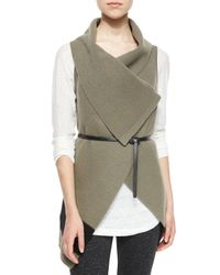 Joie - Green Ligiere Wool Colorblock Belted Vest - Lyst