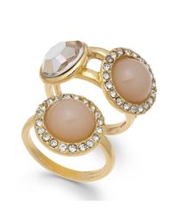 INC International Concepts | Metallic Inc International Concept Gold-tone Stone And Crystal Pave Ring Duo | Lyst