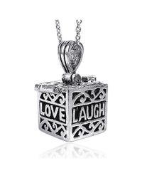 Aeravida | Metallic Live/love/laugh Prayer Box Locket .925 Silver Pendant | Lyst