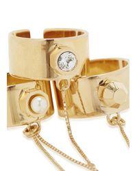 MFP MariaFrancescaPepe - Metallic 23 Karat Gold Plated Swarovski Chain Rings - Lyst