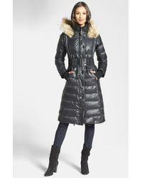 Rudsak | Black 'genie' Hooded Down Coat With Genuine Coyote Fur Trim | Lyst