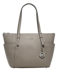 MICHAEL Michael Kors - White Jet Set Top-Zip Saffiano Leather Tote - Lyst