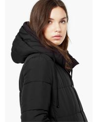 Mango | Black Quilted Long Coat | Lyst