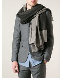 Lost & Found - Gray Colour Block Pashmina for Men - Lyst