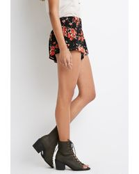 Forever 21 | Black Rose Print Smocked Shorts | Lyst