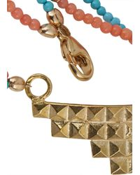Daisy Knights - Metallic Ana Turquoise and Coral Beaded Bracelet - Lyst