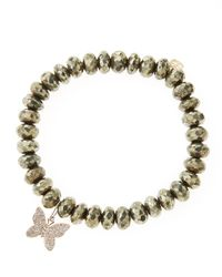 Sydney Evan | Metallic Champagne Pyrite Beaded Bracelet With 14K Gold/Diamond Small Butterfly Charm (Made To Order) | Lyst