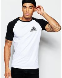 ASOS | Black Muscle T-shirt With Raglan Sleeves And Triangle Chest Print for Men | Lyst