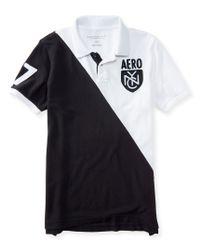 Aéropostale | Black Aero Nyc Diagonal Logo Piqué Polo for Men | Lyst