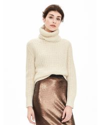 Banana Republic | Natural Mixed-stitch Turtleneck Sweater | Lyst