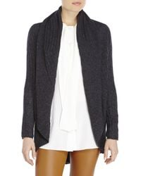 Qi - Gray Open Front Cashmere Cardigan - Lyst