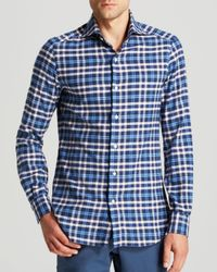 Eidos - Blue Marcus Plaid Flannel Button Down Shirt for Men - Lyst