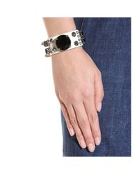Miu Miu | Metallic Embellished Leather Bracelet | Lyst