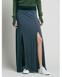 Free People - Blue Double Slit Maxi Skirt - Lyst