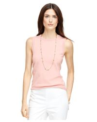 Brooks Brothers - Pink Silk And Cotton Sleeveless Shell - Lyst