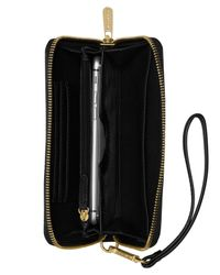 Michael Kors | Black Michael Jet Set Travel Calf Hair Large Coin Multifunction Phone Case | Lyst