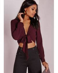 Missguided | Purple Tie Front Cropped Blouse Burgundy | Lyst