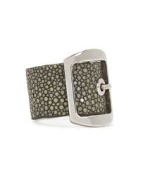 Givenchy | Gray Shagreen Buckled Leather Ring | Lyst