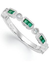 Macy's | 14k White Gold Emerald (1/4 Ct. T.w.) And Diamond (1/5 Ct. T.w.) Alternating Ring | Lyst