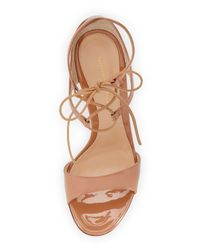 Gianvito Rossi - Natural Tie-Up Patent-Leather Sandals  - Lyst