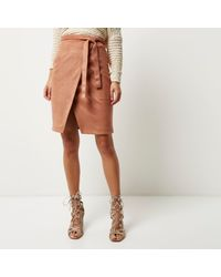 River Island Brown Faux Suede Wrap Skirt