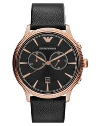 Emporio Armani - Black Chronograph Leather Strap Watch for Men - Lyst