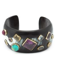 Ashley Pittman - Black Embellished Horn Cuff - Lyst