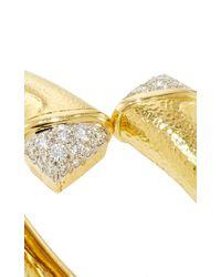 David Webb | Metallic Diamond Crossover Nail Bangle | Lyst