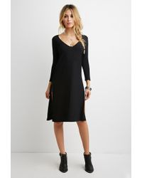 Forever 21 - Black High-slit Longline Top - Lyst
