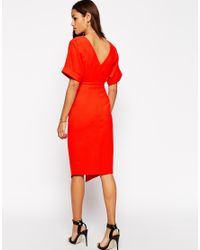 ASOS - Red Tall Wiggle Dress With Split Front - Lyst
