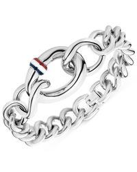Tommy Hilfiger | Metallic Silver-Tone Graduated Link Bracelet | Lyst