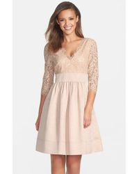 Eliza J - Natural Lace & Faille Dress - Lyst
