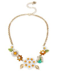 Betsey Johnson | Multicolor Gold-Tone Daisy And Critter Frontal Necklace | Lyst