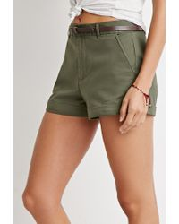 Forever 21 - Green Belted Chino Shorts - Lyst